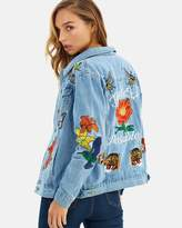 Glamorous Rose Embroidered Denim Jacket