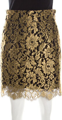 Dolce & Gabbana Metallic Gold Lace Overlay Scalloped Mini Skirt S