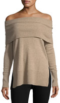 Neiman Marcus Cashmere Off-Shoulder Tunic Sweater, Tan