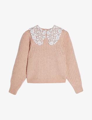 Topshop Crochet-collar knitted jumper