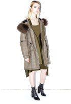 3.1 Phillip Lim Glen plaid fur-hood coat