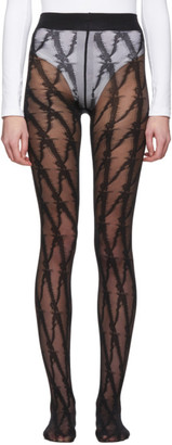 Versace Black V Pattern Tights