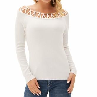 Liumilac Women Off Shoulder Boat Neck Tops Tight Long Sleeve Solid Regular Sweater -2 2XL
