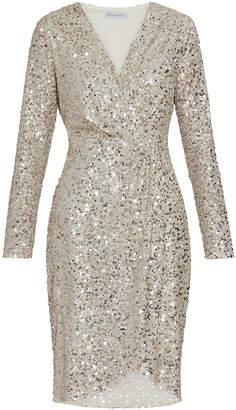 Gina Bacconi Nidia Sequin Wrap Dress in Metallic - 14 - Silver/Gold