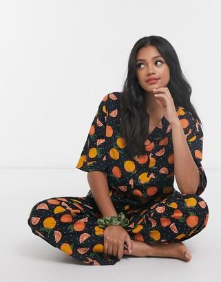 ASOS DESIGN mix & match 100% modal orange print pyjama shirt
