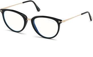 Tom Ford Blue Block Cat-Eye Acetate & Metal Optical Frames