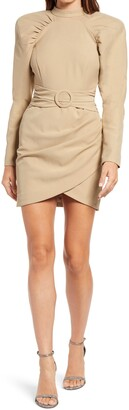 Lavish Alice High Neck Pleated Raglan Sleeve Minidress