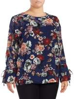 Lord & Taylor Plus Sheer Floral Blouse