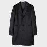 Paul Smith Men's Black Wool-Mohair Textured Overcoat