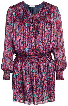 Ramy Brook Gessie Floral Print Silk Peasant Dress