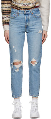 Levi's Levis Blue Distressed Wedgie Fit Ankle Jeans