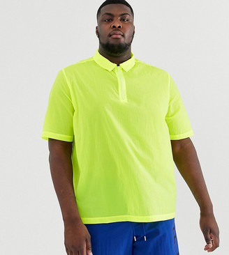 ASOS DESIGN Plus oversized overhead nylon shirt in neon yellow