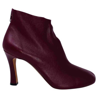 Celine Wrapped boots Burgundy Leather Ankle boots