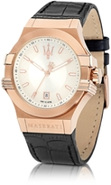 Maserati Potenza Rose Gold Tone Stainless Steel and Black Leather Strap Men's Watch