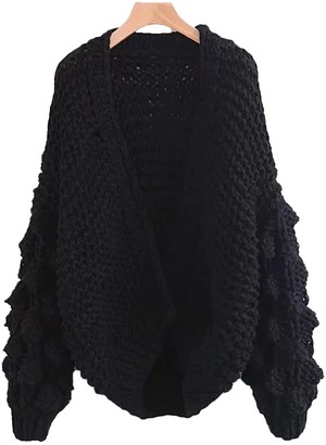 Goodnight Macaroon 'Abbey' Hand-knitted Pom Pom Sleeve Chunky Cardigan (3 Colors)