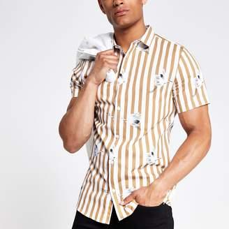 River Island Mens Ecru stripe slim fit short sleeve shirt