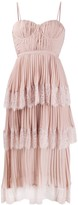 Self-Portrait Lace-Panelled Pleated Dress