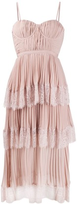 Self-Portrait Lace-Panelled Pleated Dress