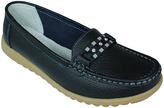 Black Rhinestone Leather Loafer