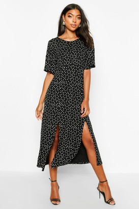 boohoo Tall Angel Sleeve Polka Dot Midi Dress