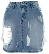 Glamorous petites **shredded denim skirt