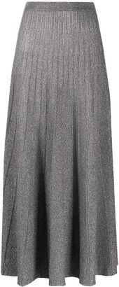 Joseph Pleated High-Waisted Glitter Skirt