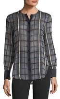 Emporio Armani Button-Front Long-Sleeve Checkered Blouse