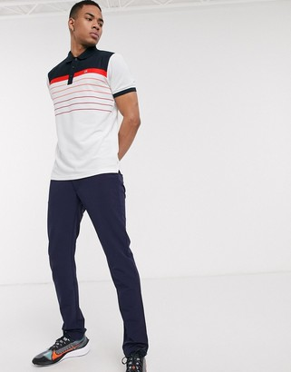 Calvin Klein Golf Flint polo shirt in white with red stripes