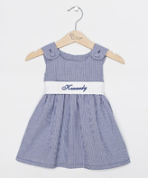 Princess Linens Navy & White Gingham Personalized Dress - Infant Toddler & Girls
