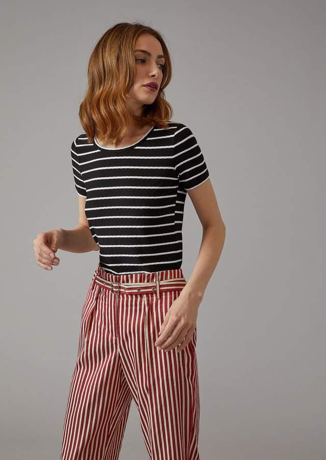 Giorgio Armani T-Shirt With Woven Stripes
