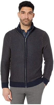 Perry Ellis Chevron Stitch Full Zip Long Sleeve Sweater (Dark Sapphire) Men's Clothing