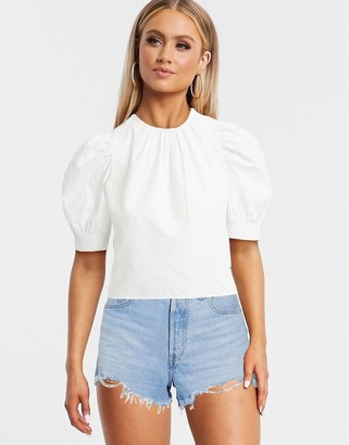 Pimkie poplin blouse with puff sleeves in white