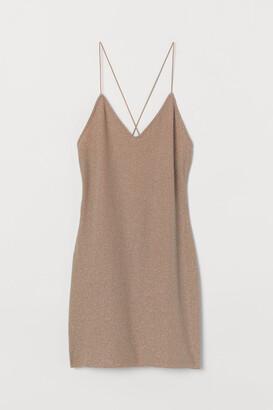 H&M Fitted Glittery Dress - Beige
