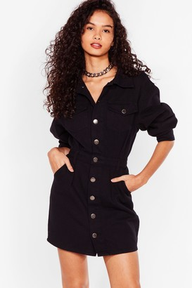 Nasty Gal Womens Button to a Winner Denim Mini Dress - Washed Black