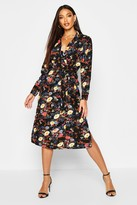 boohoo Amada Floral Printed Maxi Shirt Dress