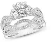 Zales 7/8 CT. T.W. Diamond Vintage-Style Twist Bridal Set in 14K White Gold (I/SI2)