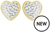Evoke Sterling Silver Gold Plated & Swarovski Elements Heart Stud Earrings