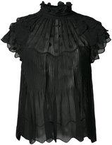 Ulla Johnson sheer polka dot ruffle blouse