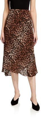 Johnny Was Silk Leopard-Print Midi Skirt w/ Lining