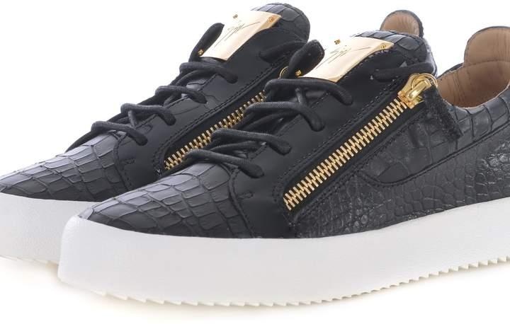 Giuseppe Zanotti Frankie Crocodile-embossed Low-top Sneaker