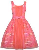 Bonnie Jean Girls Orange Pink Ribbon Mesh Easter Spring Dress