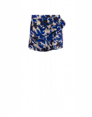 Boutique Moschino Tropical Flowers Satin Skort Woman Beige Size 40 It - (6 Us)