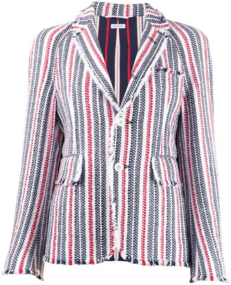 Thom Browne Frayed Striped Blazer