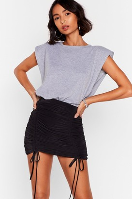 Nasty Gal Womens Party At the Front Ruched Mini Skirt - Black - 4, Black