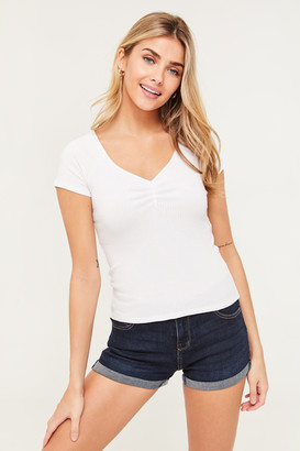 Ardene Ribbed Ruched T-shirt