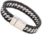 """Vincent Mens Womens Stainless Steel Genuine Leather Bracelet 8.5"""""""