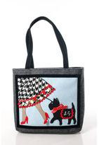 Lulu Guinness Multi Color Novelty Print Felt Double Handle Tote Handbag