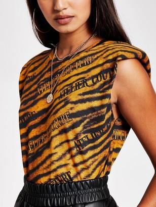 River Island Animal Print Shoulder Pad T-shirt - Brown