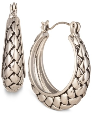 "Charter Club Silver-Tone Braided Small Hoop Earrings, 1"", Created for Macy's"