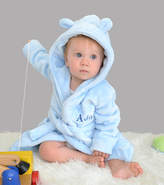 Fleece Baby DCaro Personalised Blue Robe With Ears
